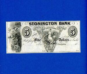 1800's $5 STONINGTON BANK STATE OF CONNECTICUT RARE CRISP HIGH GRADE NOTE