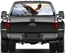 Shiny Glory American Flag Bald Eagle Rear Window Graphic Decal Truck SUV