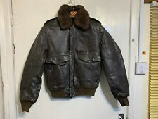 VINTAGE DISTRESSED LEATHER BOMBER JACKET SIZE S TALON ZIP