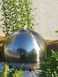 42cm Stainless Steel Ball Sphere Water Feature with LED Lights