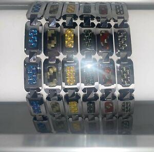 Set of 6 Tungsten Carbide Bracelets with Carbon Fiber Inlays