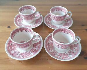 Villeroy & Boch Burgenland rot 4 Kaffeetassen mit Unterteller