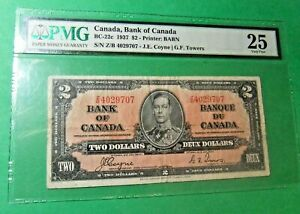 1937 Canada 2 Dollar Bank Note - COYNE /TOWERS - Certified PMG VF25