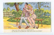 art Jean CHAPERON Park Bench comic Pinup nude theme original old 1950s postcard