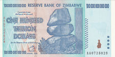 100 TRILLION DOLLARS EXTRA FINE BANKNOTE FROM ZIMBABWE 2008 PICK-91 RARE