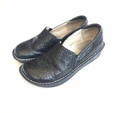 Alegria Debra Deb 531 Women 40 Black Tooled Leather Floral Clogs Nursing 10 shoe