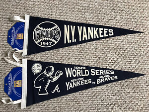 MITCHELL & NESS NEW YORK YANKEES 1947 CHAMPS 1996 WORLD SERIES VINTAGE PENNANTS