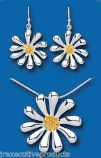 Solid Sterling Silver Gold Detail Flower Pendant and Earrings Set