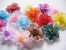 40 Organza 2 Tone Beaded Flower Appliques-Mix-R007