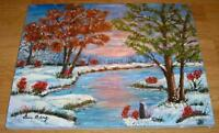 FOLK ART WINTER TO AUTUMN SEASON LANDSCAPE SUNSET ON POND TREES OIL ART PAINTING
