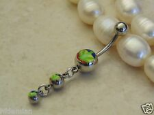 Cascading Triple Pot Leaf Ball Dangle  Belly/Navel Ring.