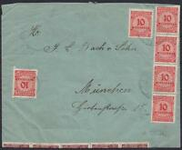 DR Mi Nr. 318AP (10), 320AW MiF Brief 1 Millarde Mark, gel. München 1923, PP 23