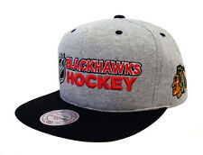 3ba88b89d75 Chicago Blackhawks Snapback Mitchell   Ness Heather Jersey Cap Hat Grey  Black