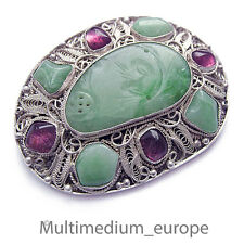 Style Art Déco Jade Argent Broche probablement Amethyst filigrane silver Chine Filigree