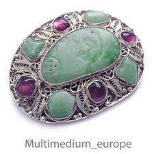 Jugendstil Jade Silber Brosche wohl Amethyst filigran silver china filigree