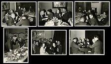 PARTY SCENE GIRLS GERMAN SOLDIERS, PERMEKE PAINTING- 6 ORIGINAL 1940s PHOTOS