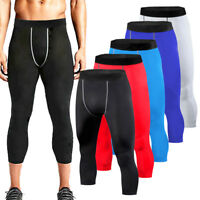 Mens 3/4 Compression Pants Base Layer Slim Fit Trousers Basketball Soccer Tights