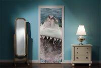 Door Mural Shark Attack View Wall Stickers Decal Wallpaper 67