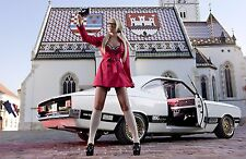 """GIRL AND THE OLD CLASSIC CAR Mini Poster  24"""" x 36"""" HD"""