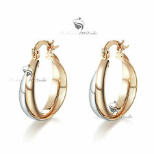 18K WHITE ROSE GOLD GF 2 TONE DESIGNER HOOP EARRINGS