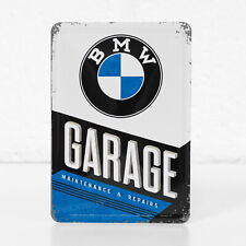 Small 14x10cm BMW Garage Metal Tin Sign Wall Desk Plaque Card Gift Merchandise