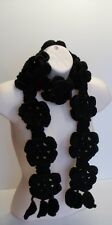 Black Sensation Flower Lariat Handmade Crochet Knit Necklace Scarf