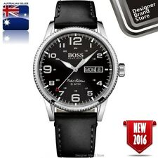 Hugo Boss Mens Pilot Watch Silver Tone Black Dial & Leather Day Date 1513330