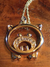 YELLOW GOLD FAT CAT 9CT  FILLED PENDENT NECKLACE