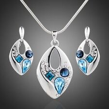 Platinum Plated Blue Made With Swarovski Earrings and Necklace Jewelry Set S111