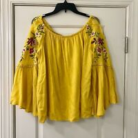 Umgee Yellow Off The Shoulder Floral Boho Top M