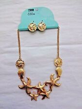 Starfish Necklace Earring Set Sea Shells Dangle Sand Dollar Earrings Gold Tone