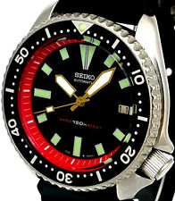Vintage Mens Watch SEIKO Diver 7002 Mod w/Gold Plongeur Hands & Red Chapter Ring