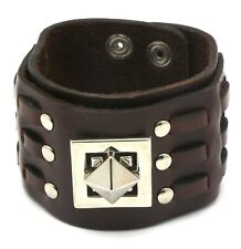 Brown Leather Snap Button Bracelet with Metal Pyramid Shape Center