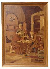 Vtg. German Buchschmid & Gretaux Marquetry Wood Inlay Art Tavern Monks Bg 17x24