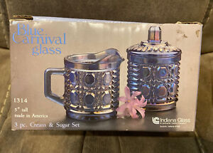 Vintage Indiana Glass 3pc Cream and Sugar Set, Carnival Glass, Iridescent blue