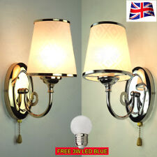 PAIR OF SIMPLE CHROME SILVER LED WALL LIGHTS BEDSIDE LAMP SCONCE WITH ROP SWITCH