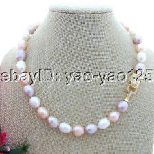 S102610 17'' 10x12mm Multi Color Rice Pearl Necklace