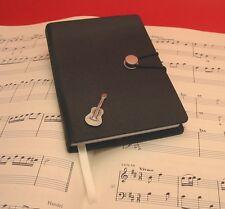 Acoustic Guitar Pewter Motif A6 Black Journal Notebook Xmas Music Teacher Gift