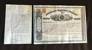 American Express Co Stock Certificate With Provenance Certificate No.1424