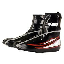 Cycling Shoe Covers Waterproof Black Red reflective with Zipper & refllective st