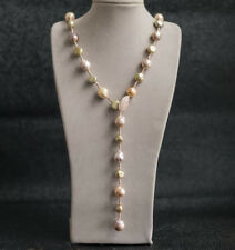 """35"""" baroque 10-12 mm south sea natural  multi-color pearl necklace  handmade"""