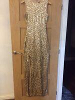 Quiz Bridesmade Party Prom Evening Maxi Dress Gold Sequins