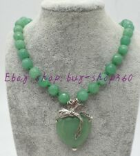 """Beautiful Faceted 10mm Round Green Emerald Gemstone& Heart Pendant Necklace 18"""""""