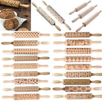 3D Christmas Pattern Embossing Wooden Rolling Pin Embossing Baking Kitchen Tool