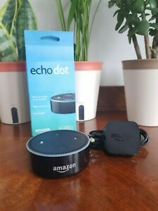 Amazon Echo Dot - Black - Boxed Alexa Plug and Cable - Excellent Condition - 2nd