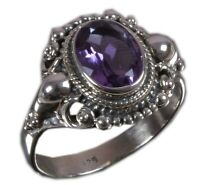Handmade 925 Solid Sterling Silver Ring Natural Amethyst Stone US Size 8 R1209