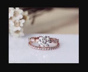 1.23 TCW Moissanite diamonds Halo party 14k gold wedding Engagement Ring set