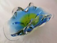 Beautiful Chribska acid green & blue sommerso art glass bowl