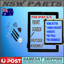 iPad 3 / 4 Black Front Touch Screen Glass Digitizer Home Button Assembly 3rd Gen