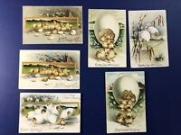 6 Easter Chicks Antique Postcards, IAP / Clapsaddle. Collector Items. Value Nice